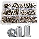 Rivet Nut Threaded Rivetnut Insert Nutsert M3 M4 M5 M6 M8 M10 M12 Assortment Kit 185Pcs,304Stainless Steel