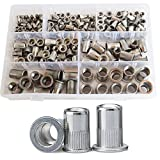 185Pcs Rivet Nut Flat Head Metric Threaded Rivnut Insert Standard Rivetnut Blind Nutsert Assortment Kit Set M3 M4 M5 M6 M8 M10 M12,304Stainless Steel