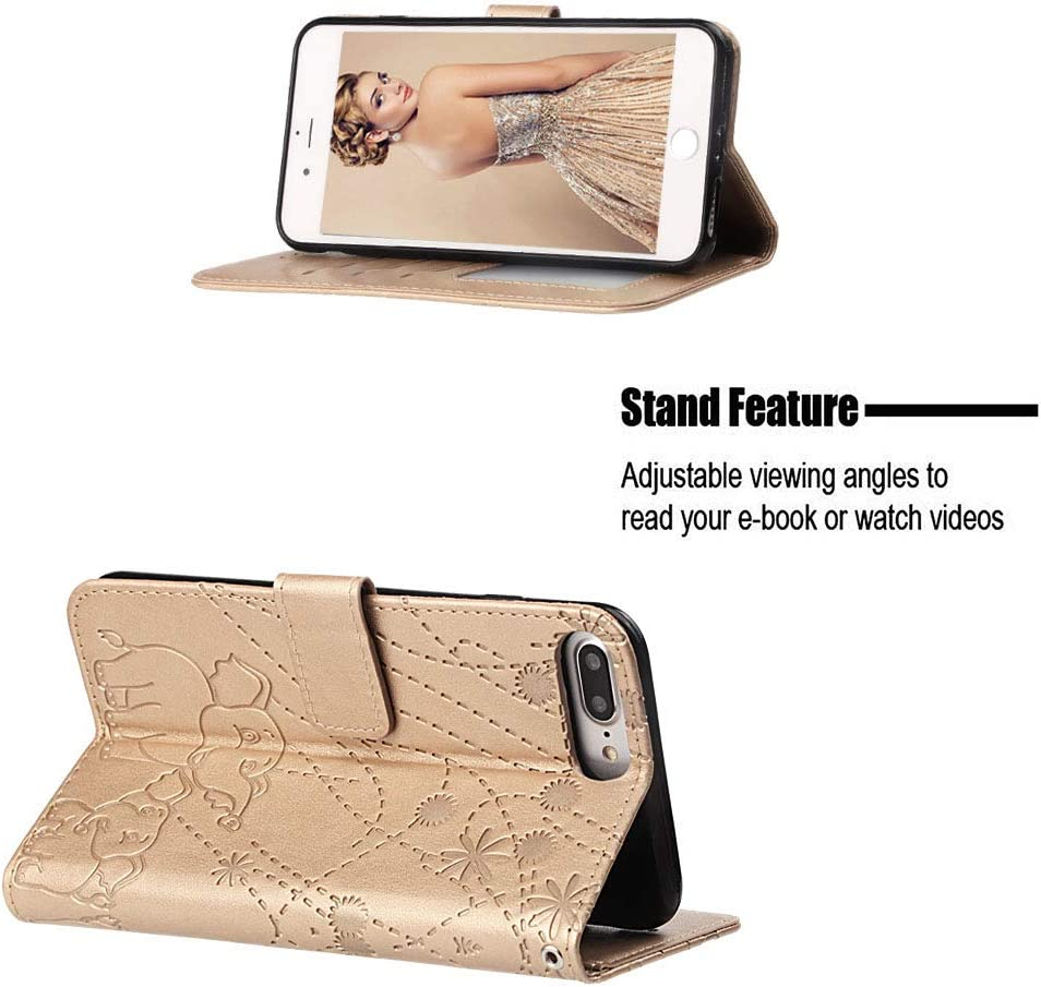 Shockproof Flip Case Cover for Apple iPhone 6SPlus LOYBO470024 Gold Lomogo Leather Wallet Case for iPhone 6S Plus 6 Plus with Stand Feature Card Holder Magnetic Closure 6Plus