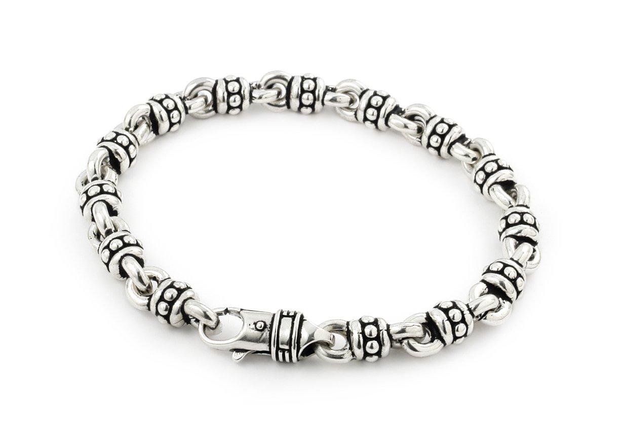 Twisted Blade 925 Sterling Silver Large Studded Link Bracelet 7''