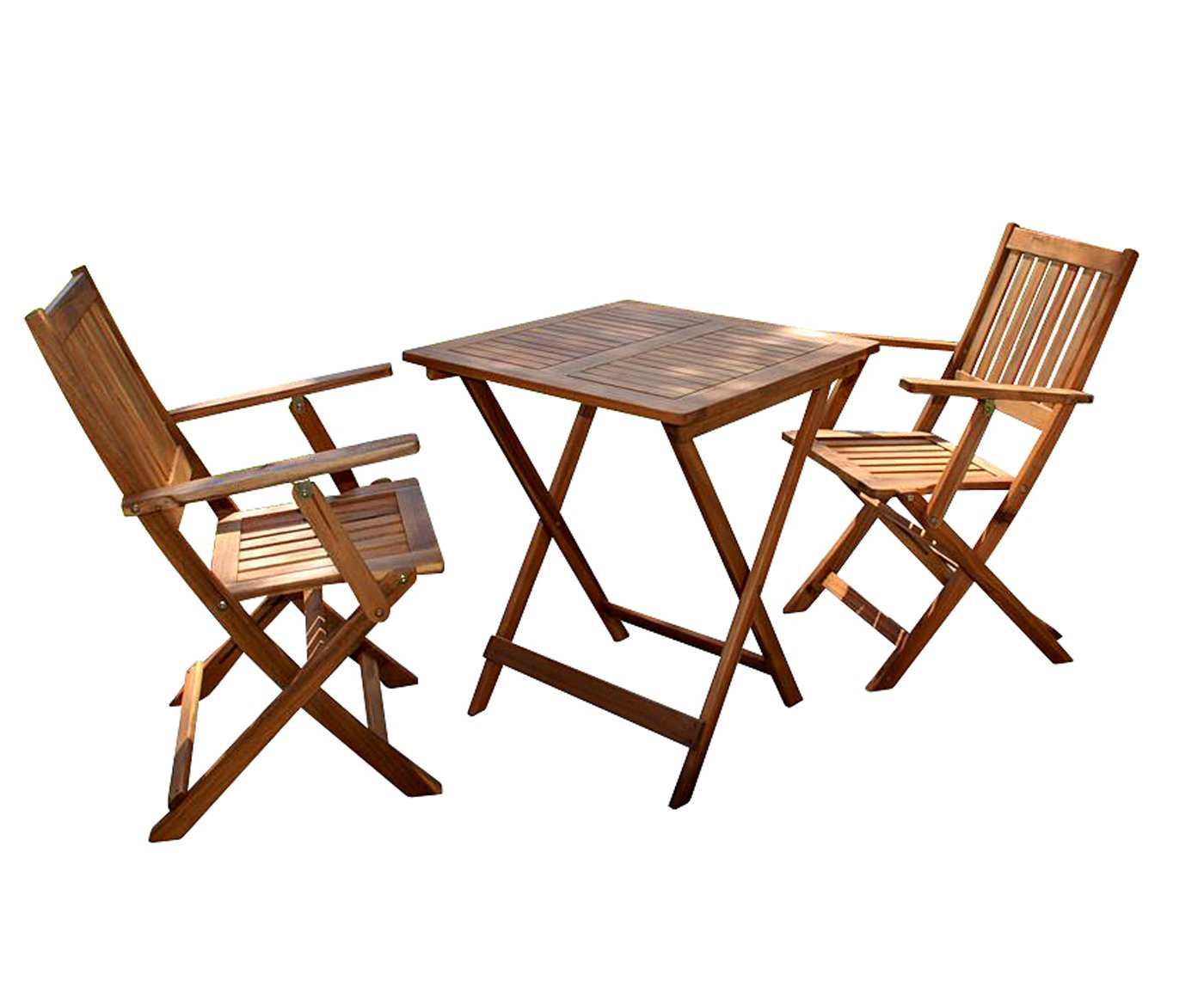SAM Robuste Garten-Tischgruppe Camelia 3tlg. aus Akazienholz, Besteehend aus 1 x Tisch + 2 x Klappstuhl, schöne Maserung