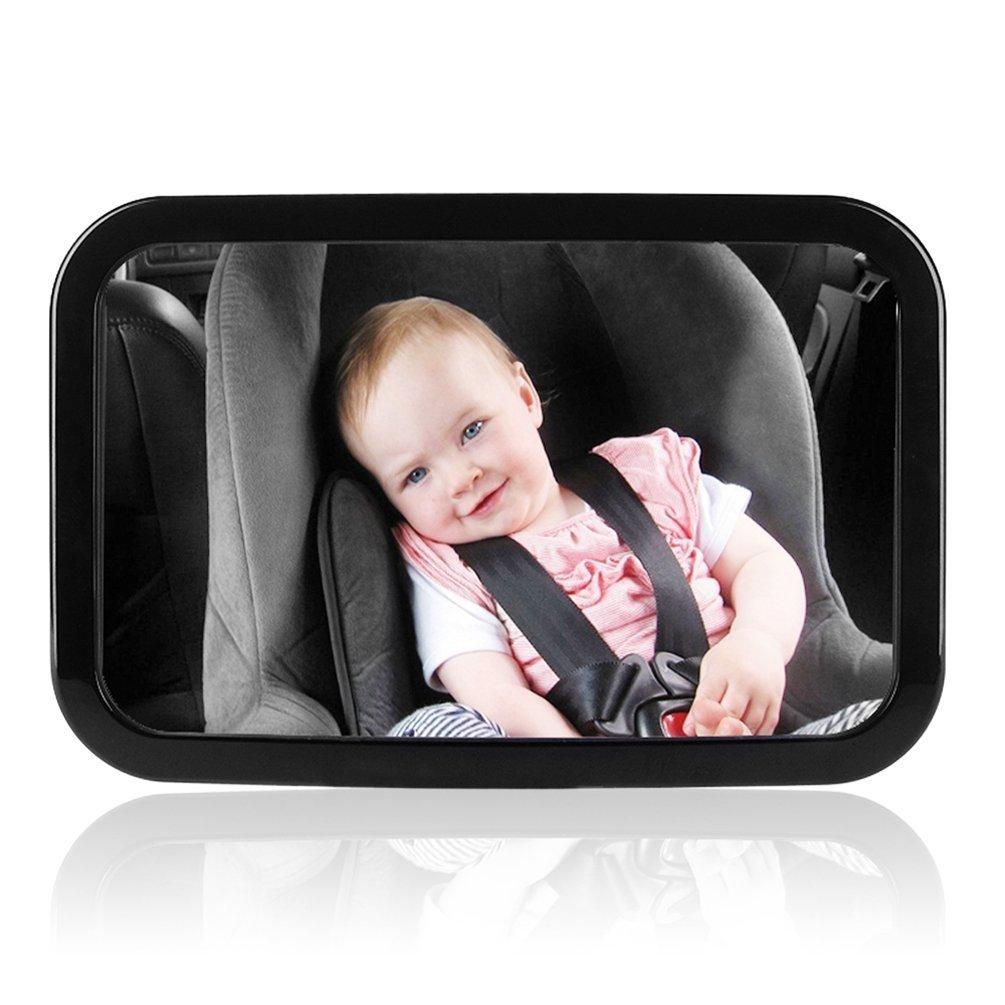 Amzdeal Rétroviseur de Surveillance Pour Bébé Miroir de Voiture Pour Bébé Rétroviseur Sécurité Pour Siège Arrière Rotation 360°& Fonction d'Inclinaison - Noir