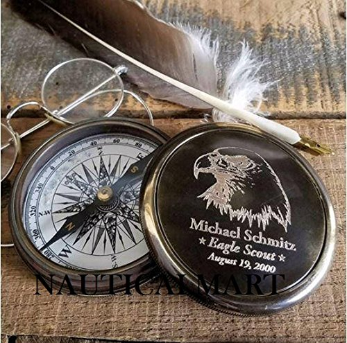 Engraved Eagle Scout Brass Compass Personalized Compass Christmas Gift