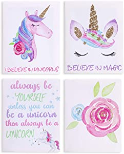 """ICOSY Wall Art Prints Set of 4, Framed Canvas Paintings Picture Unicorn Waterproof Artwork Prints for Kids Room Wall Decor (8""""x10"""")"""