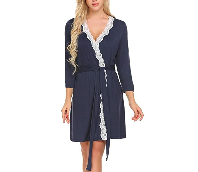 Refuelr Robe de Las Mujeres de Manga Larga con Cuello en V de Encaje Camisones camisón Ropa de Dormir Batas Albornoz Gowm vestirse Ropa de hogar Femenina: ...