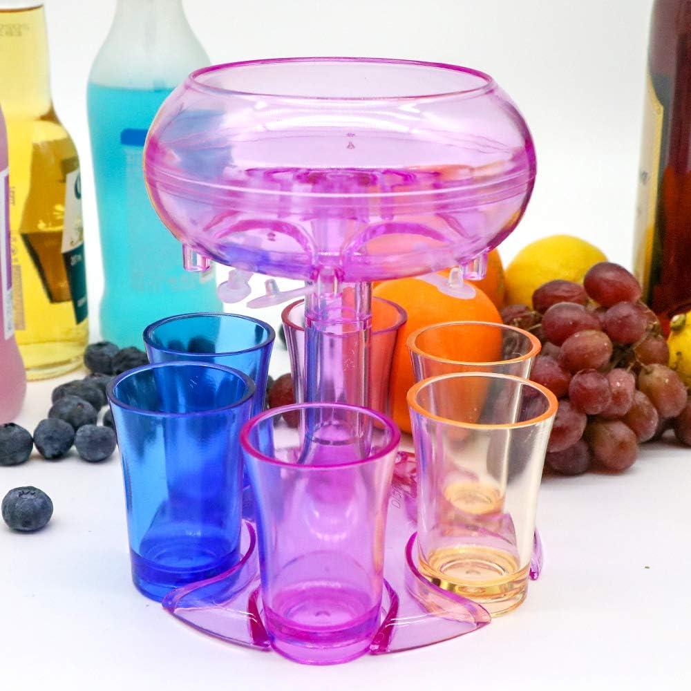 Six Shot Glass Dispenser Holder Party Bar Shot Dispenser Alcohol Liquor Beverage Dispenser 6 Shot Dispenser(Red & 6 color cups)