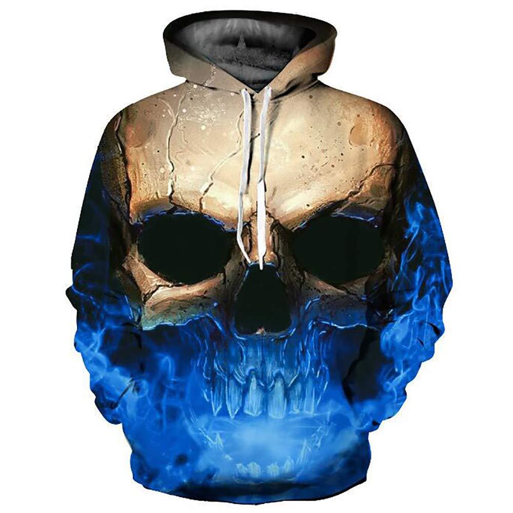 XS CAR Herren Basic/übertriebener Hoodie-3D/Skull, Print
