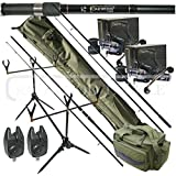 Oakwood Carp Deluxe Fishing Tackle Set Rods, Double Handle Reels, Rod Pod, Bite Alarms, 3+3 Rod Holdall & Tackle Carryall