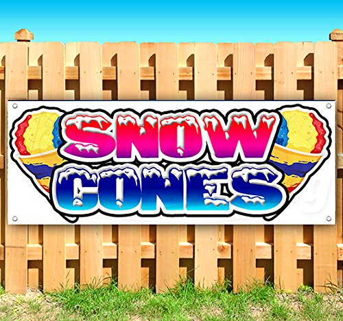 Snow Cones 13 oz Heavy Duty Vinyl Banner Sign with Metal Grommets, New, Store, Advertising, Flag, (Many Sizes Available) -