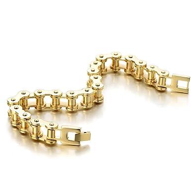 COOLSTEELANDBEYOND Classique – Or Bracelet Chaîne de Vélo - Bracelet en  Acier Inoxydable pour Homme - d6b70de7f79b