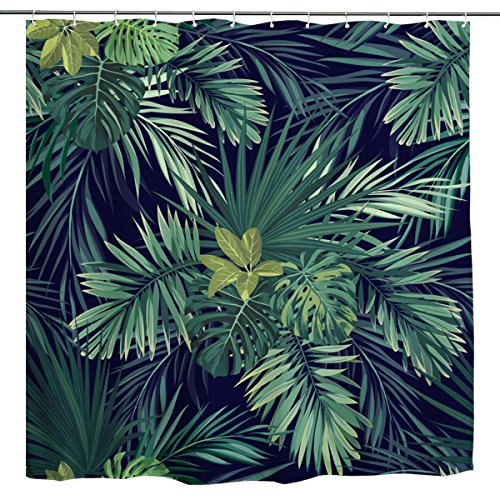 BROSHAN Plant Print Shower Curtain,Green Tropical Palm Tree Leaf Banana Leaves Jungle Hawaiian Summer Nature Art Printing,Polyester Waterproof Bathroom Bath Curtain with Hooks,72x72 inch,Green