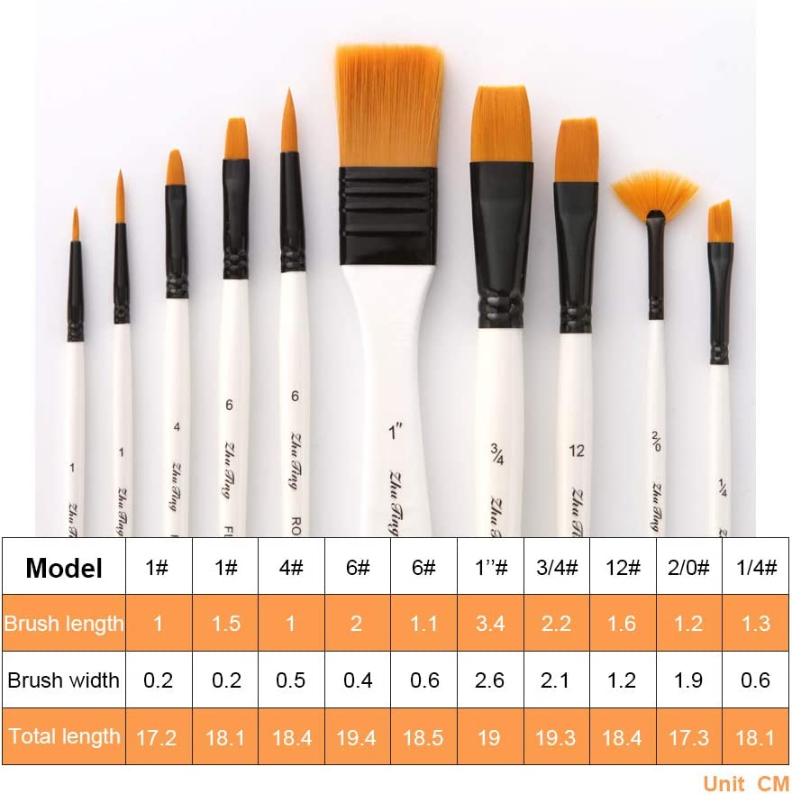 AOOK Artist Paint Brushes Superior Hair Artists Flat Round Point Tip Paint Brush Set for Watercolor Acrylic Oil Painting Supplies 9 Round Point