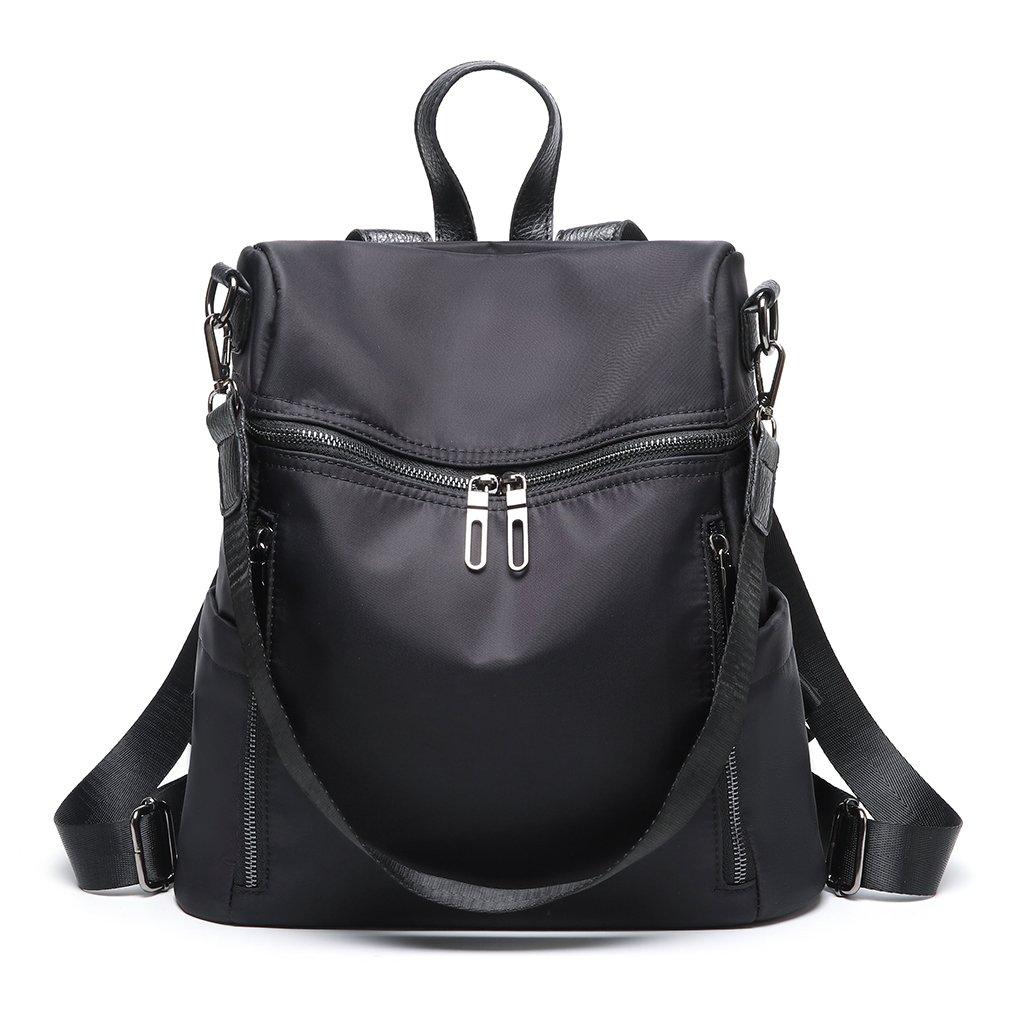 Thobu Women Fashion Nylon Backpack Purse Lightweight Schoolbag Travel Casual Daypack-Black by Thobu (Image #1)