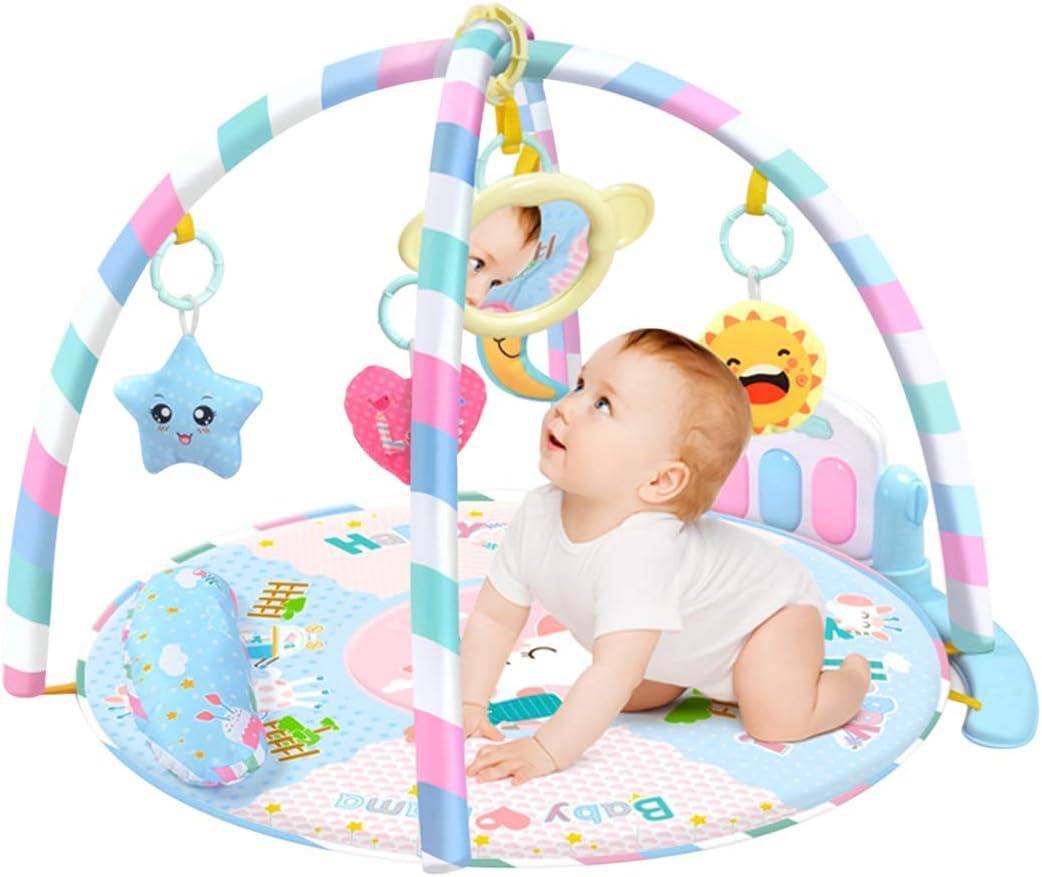 LVPY Manta de Juego , 3 en 1 Baby Piano Play Gym Play Mat Música y Luces, Juego y Gimnasio para bebés, Azul