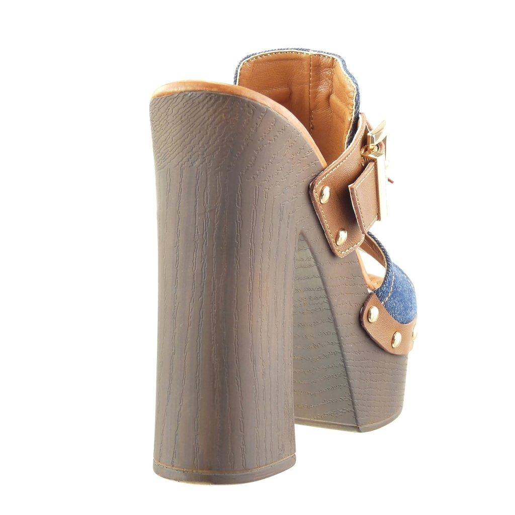 Angkorly Chaussure Mode Sabot Sandale Plateforme Femme Clouté Frange Pom-Pom  Talon Haut Bloc 13.5 cm - Bleu Marine - SK1105 T 41  Amazon.fr  Chaussures  et ... 511c409e05c8