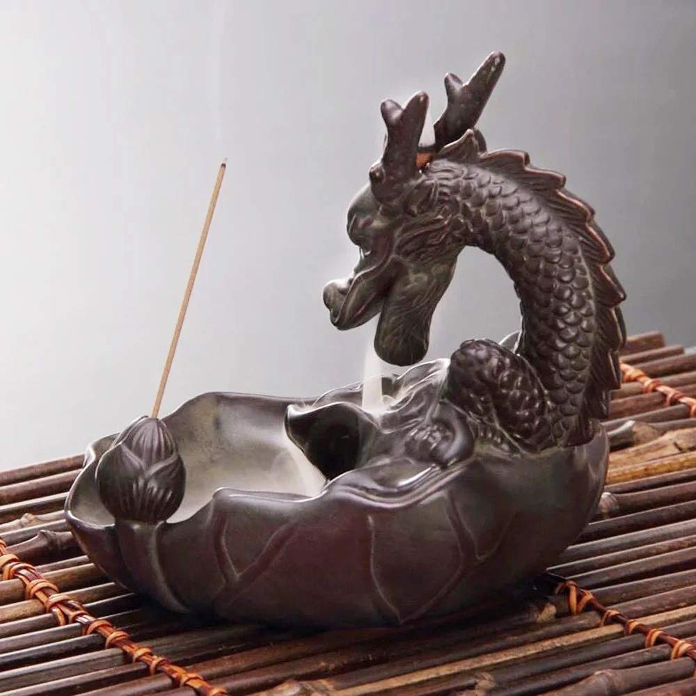 L!GHTUP Dragon Backflow Incense Burner Ceramic Incense Holder + 20 Free Cones, for Home Decor Aromatherapy Relaxation Gifts by L!GHTUP (Image #5)