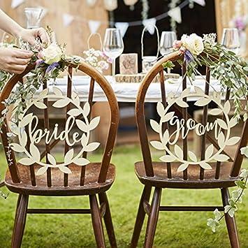 Amazonde Stuhl Dekoration Bride Groom Rustic Chic Aus Holz