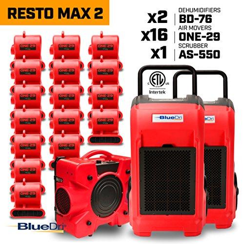 BLUEDRI RESTO MAX 216x 1/3 HP One-29 Air Movers Carpet Dryer Blower Floor Fan2x 76 Pint Commercial Dehumidifier1x Air Scrubber Negative Air Machine (550 Cfm Blowers)