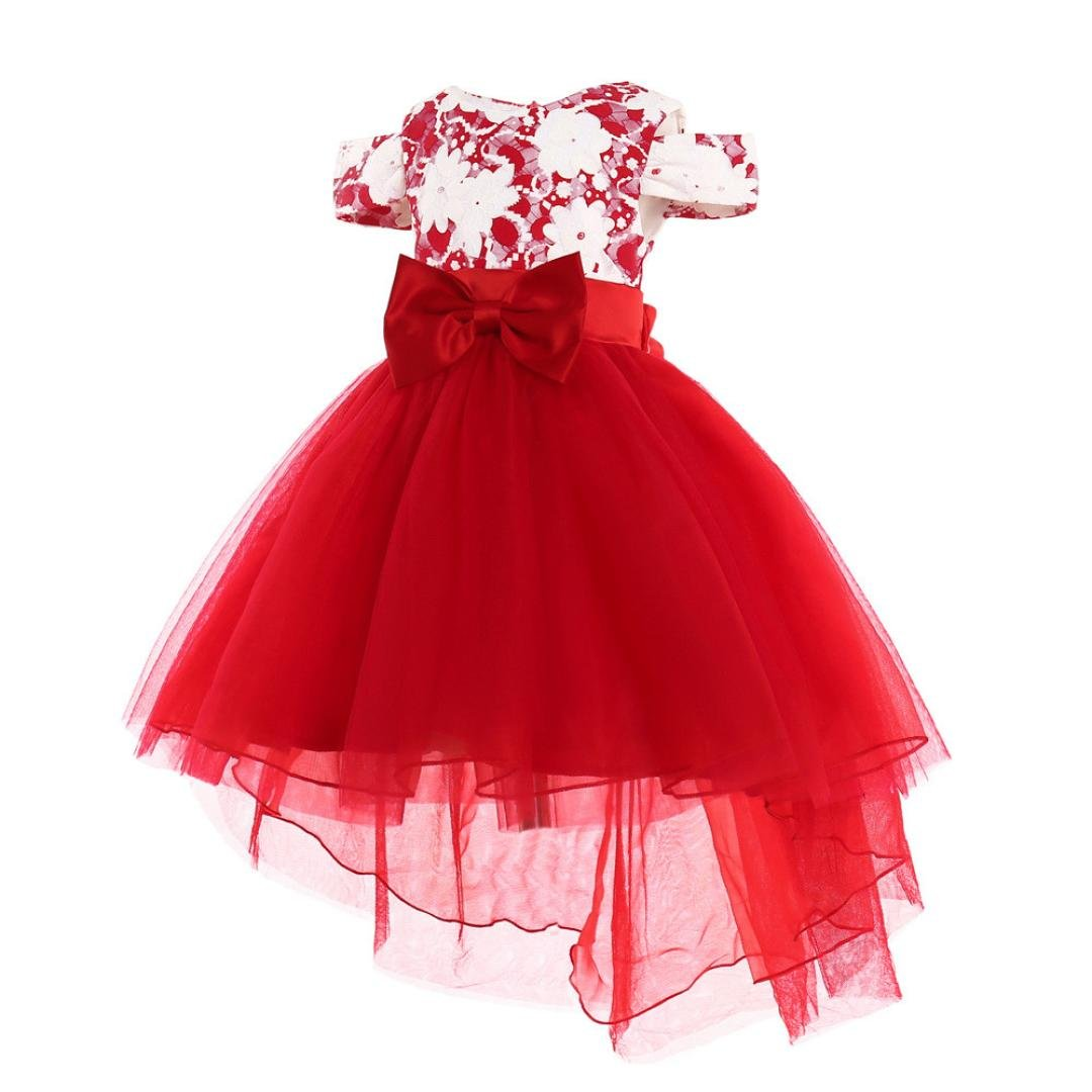 kaiCran Girls Dress,Little Girl Princess Bridesmaid Irregular Pageant Gown Birthday Party Wedding Dress (Red, 150(7 Years))
