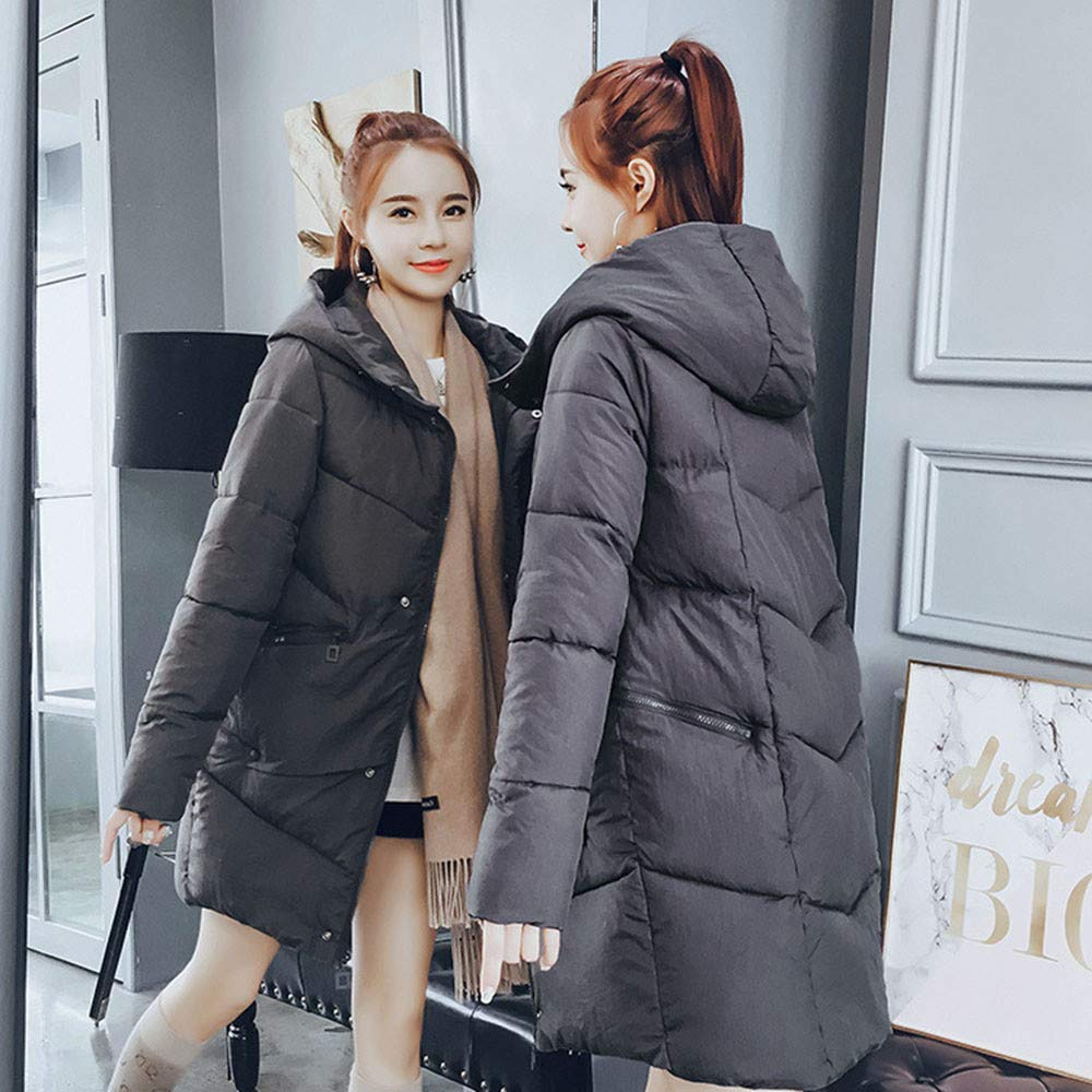 Ximandi Women Outerwear Fur Hooded Button Coat Long Cotton-Padded Jackets Pocket Coats Gray by Ximandi (Image #4)