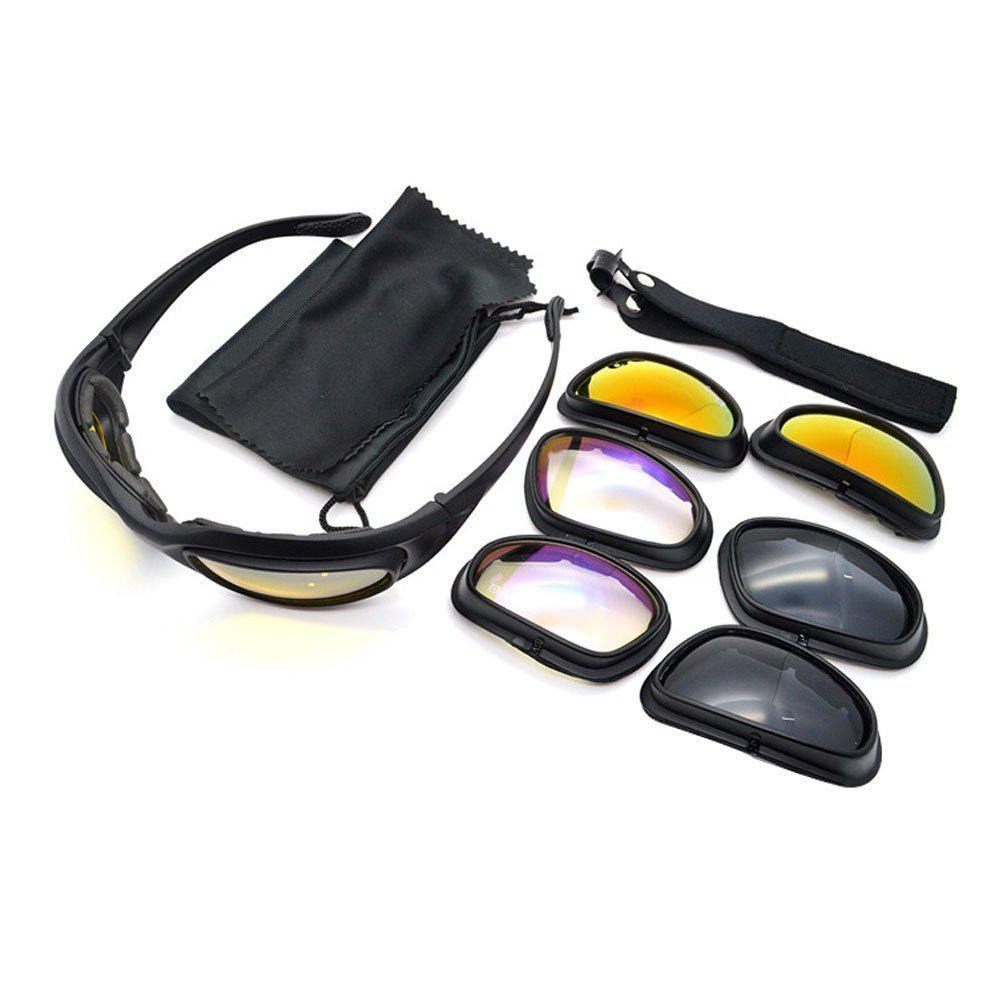 UIM-Shop Polarized Field Motorbike Driving Riding Ski Goggles Glasses -Padded Motorcycle Mirrors Set Black Frame with 4 pair of Lenses by UIM-Shop (Image #5)