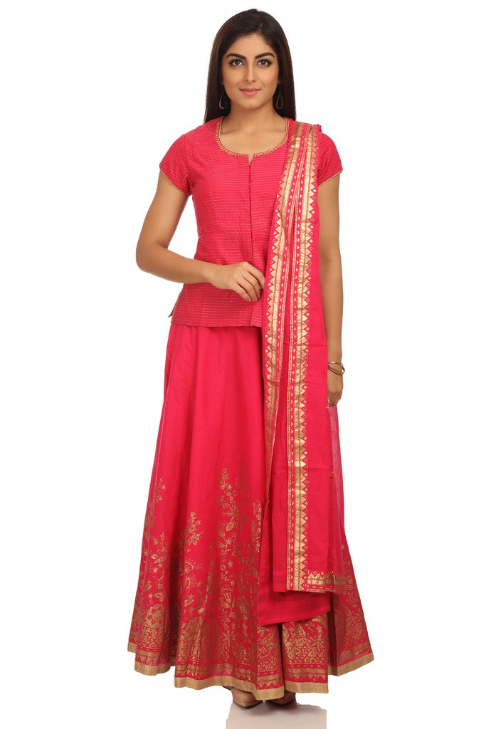 BIBA Women's Straight Cotton Suit Set 34 Pink