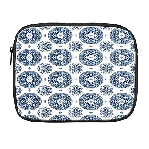 Vintage Compatible with Nice iPad Bag,French Country Style Floral Circular Pattern Lace Ornamental Snowflake Design Print for Office,One Size