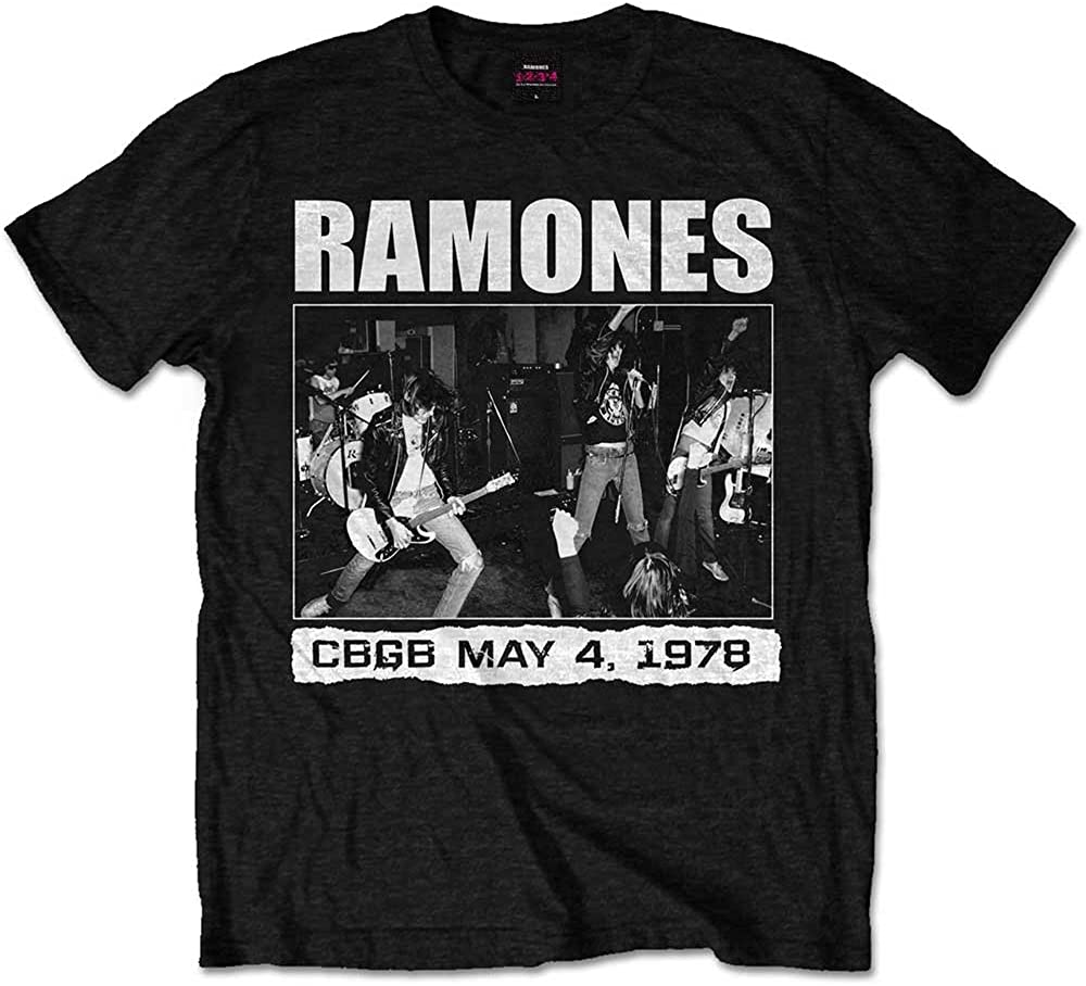 Mens The Ramones CBGBs 1978 Punk Rock Official Tee T-Shirt Mens Unisex