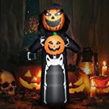 Decalare 6FT Halloween Inflatable Ghost with Pumpkin Man Yard Decoration,Outdoor Halloween Inflatable Build-in LED Lights for