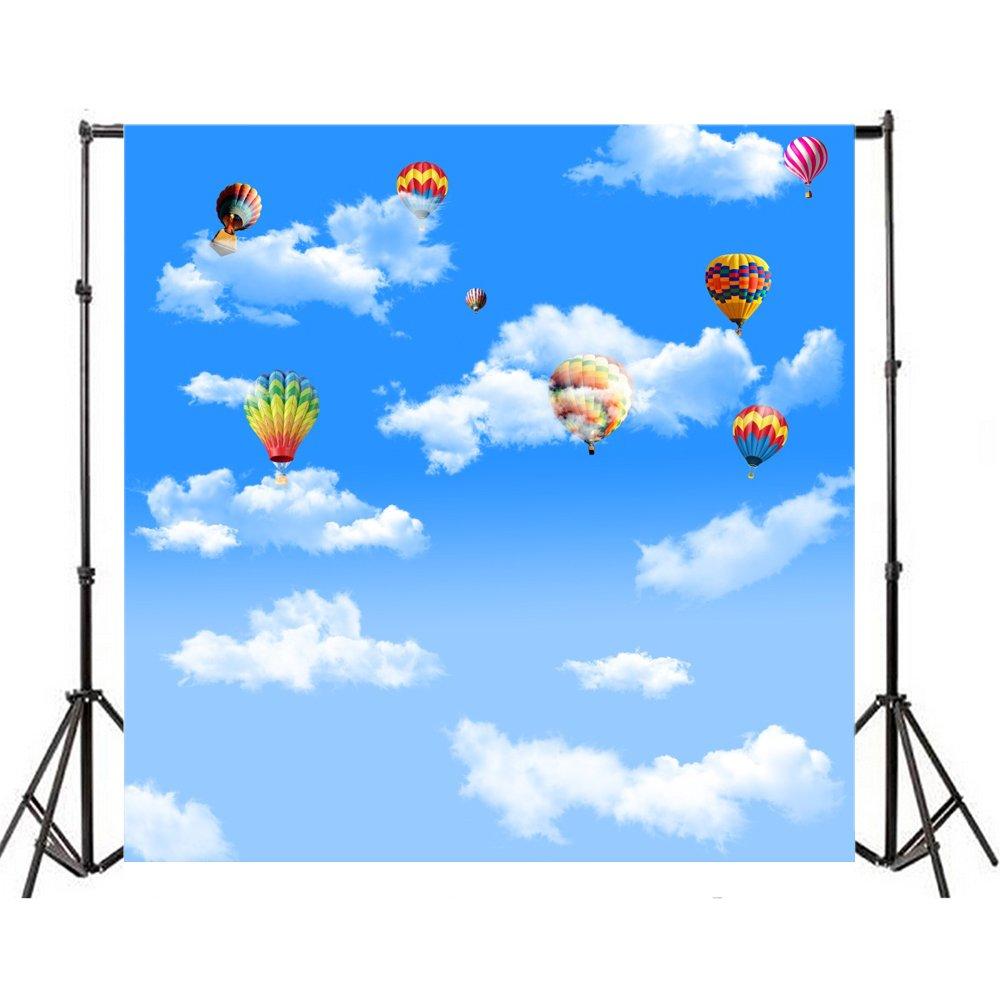 Yeele 6 x 6ftブルースカイホワイトクラウドBackdrop Colourful Flying Hot Air Balloon Travel Adventure写真背景ベビーシャワー子誕生日パーティー大人用Portrait写真撮影スタジオ小道具   B07DC1JC5B
