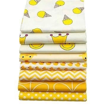 YYSZ Lote de 8 Piezas de Tela Amarilla de 45,7 x 55,9 cm para Retazos de Colcha, Cuadrados precortados para Manualidades de Patrones de Costura: Amazon.es: ...