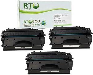 Renewable Toner Compatible Toner Cartridge High Yield Replacement for HP CE505X 05X Laserjet P2055 P2055d P2055dn P2055X (Black, 3-Pack)