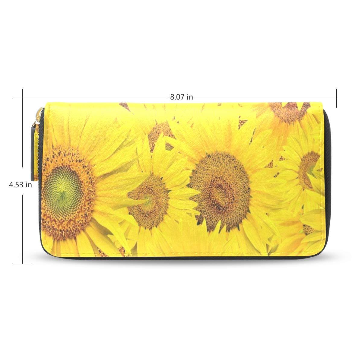 Womens Wallets Sunflower Yellow Leather Passport Wallet Change Coin Purse Girls Handbags