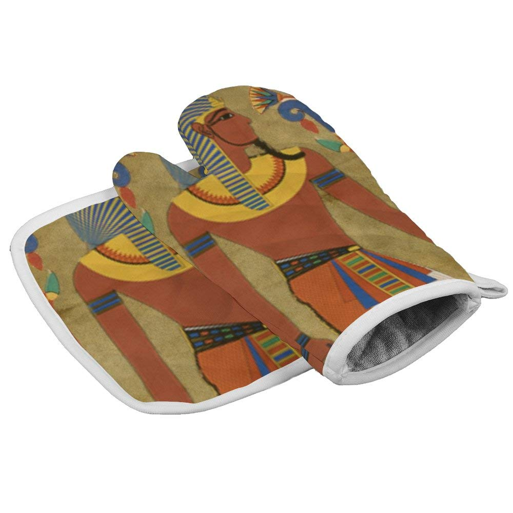 SILYHEART Oven Mitts Insulation Gloves Egyptian Tutunkhamun Oven Mitt and Pot Holder Set Insulation Gloves Heat-Resistant Kitchen Set