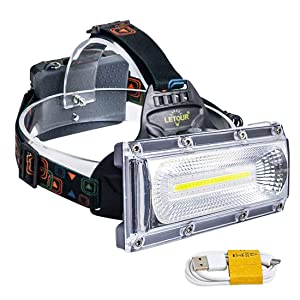 LED headlamps, LETOUR Rechargeable Headlamp, COB High Bright Flood Light Waterproof Work Light for Camping, Fishing, Jogging, Hiking, Bigger Battery Container, Super Long Working Time
