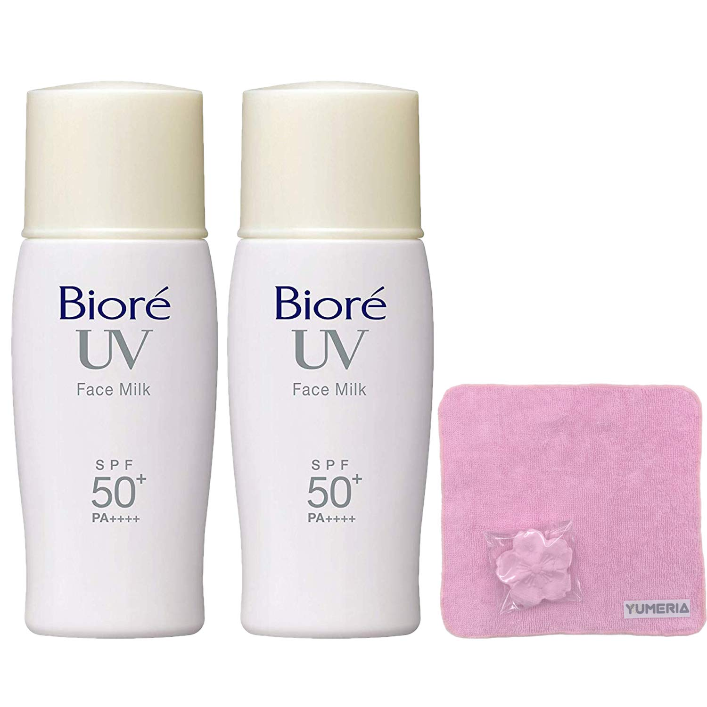 Biore UV Sarasara Face Milk 30ml, Sunscreen, SPF50+ PA++++, Latest Package, Set of 2 with YUMERIA Original Sakura Compressed Hand Towel (Face Milk)
