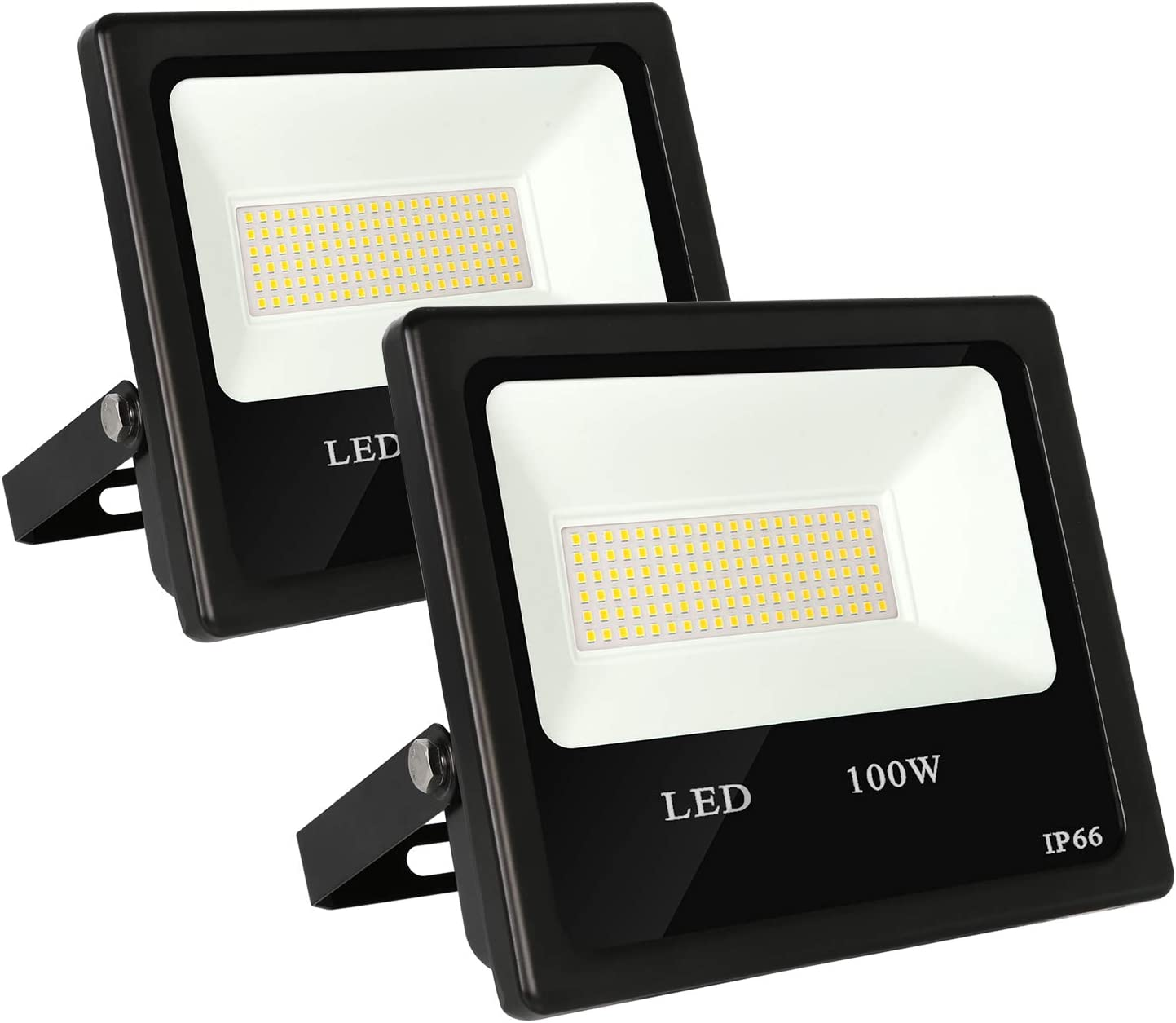 100W LED Security Flood Light, 11000lm Super Bright Work Light, 5000K [500W MH Equivalent], IP66 Weatherproof Parking Lot Lighting Fixture for Garage, Garden, Lawn and Yard - 2 Pack