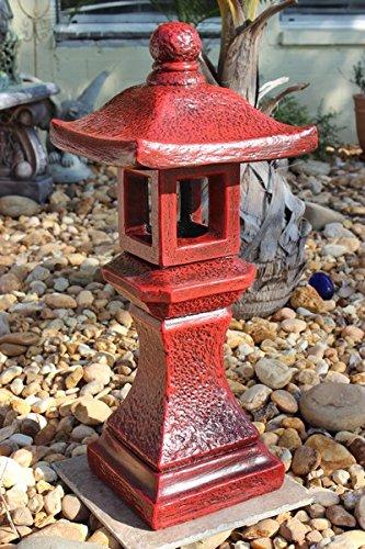 PAGODA Concrete Lantern , 3-piece Red Finish Outdoor Garden Statue - Oriental Statue Concrete