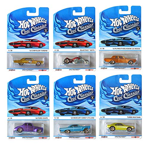 HWheels Cool Classics 2013 Collection Spectrafrost Set of 6 Diecast Cars - Ford Coupe, Plymouth Belvedere, Chrysler Turbine