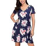 Eiffel Women's Boho Floral Print Short Sleeve A-line Casual Loose Summer Beach Tunic T Shirt Midi Dress Sundress