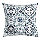 Ambesonne Traditional House Decor Throw Pillow Cushion Cover, Medieval Persian Palace Flower Leaf Shapes Arabian Decor Artwork, Decorative Square Accent Pillow Case, 24 X 24 Inches, Light Blue