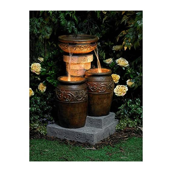 """John Timberland Tuscan Outdoor Floor Water Fountain with Light LED 31 1/2"""" High Cascading for Yard Garden Patio Deck Home - 31 1/2"""" high x 19"""" wide x 19"""" deep. Weighs 33 lbs. Tuscan stone traditional garden patio fountain from the John Timberland brand. Water flows from top basin into the two lower basins. Built-in LEDs in the two lower urns. - patio, outdoor-decor, fountains - 61IyKyo9wlL. SS570  -"""