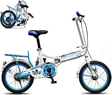 STRTG Bicicleta Plegable, Bikes Plegado Urbana,Sillin Confort, Marco De Acero De Alto Carbono,16 Pulgadas Bicicleta Plegable Urbana para Estudiante Unisex: Amazon.es: Deportes y aire libre