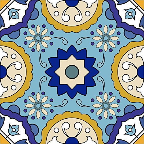 Backsplash Peel and Stick Tile Stickers 24 murals PC Set Tile Decals Bathroom & Kitchen Vinyl Wall Decals Easy to Apply Just Peel & Stick Home Decor (8x8 Inch , Yellow Blue C42) (Colour C42)