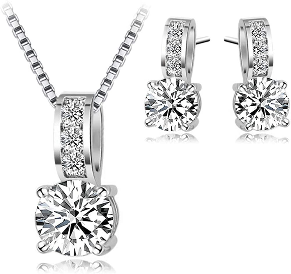 Classic Elegance jewellery set with Austrian Elements Crystals Rhodium plated High quality gift SFJS24