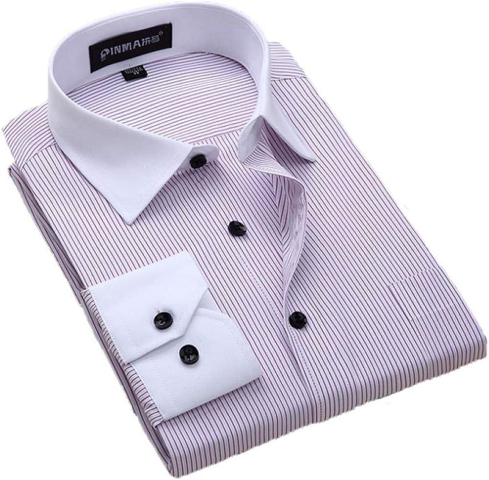 QThxqa - Camisa de Vestir para Hombre con Botones Negros y Mangas largas a Rayas, Cuello Blanco sin Planchado, Talla Grande, Talla 8XL: Amazon.es: Ropa y accesorios