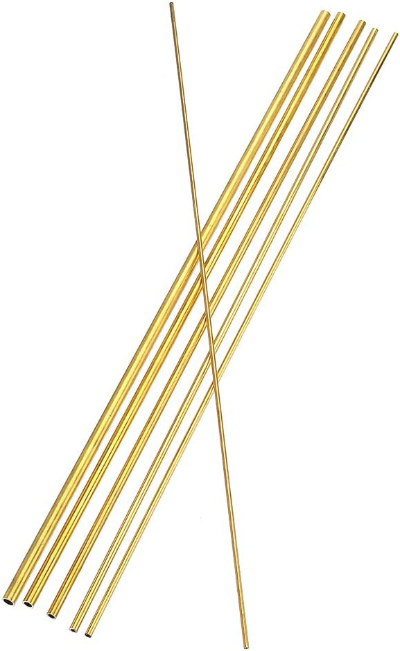 KUNSE 3-8mm Di/ámetro Lat/ón Redondo Varilla Torno Barra Stock Kit Surtido para Bricolaje Herramienta Artesanal Longitud 50cm-5mm
