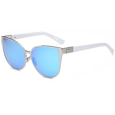 Lunettes de Mode à la Mode Lunettes de Soleil Cool , Lentille Bleu Glace / Cadre Argenté