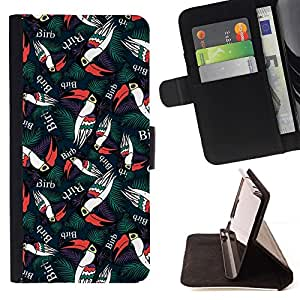 Toucan Green Bird Wallpaper - Modelo colorido cuero de la carpeta del tirón del caso cubierta piel Holster Funda protecció Para Apple (4.7 inches!!!) iPhone 6 / 6S