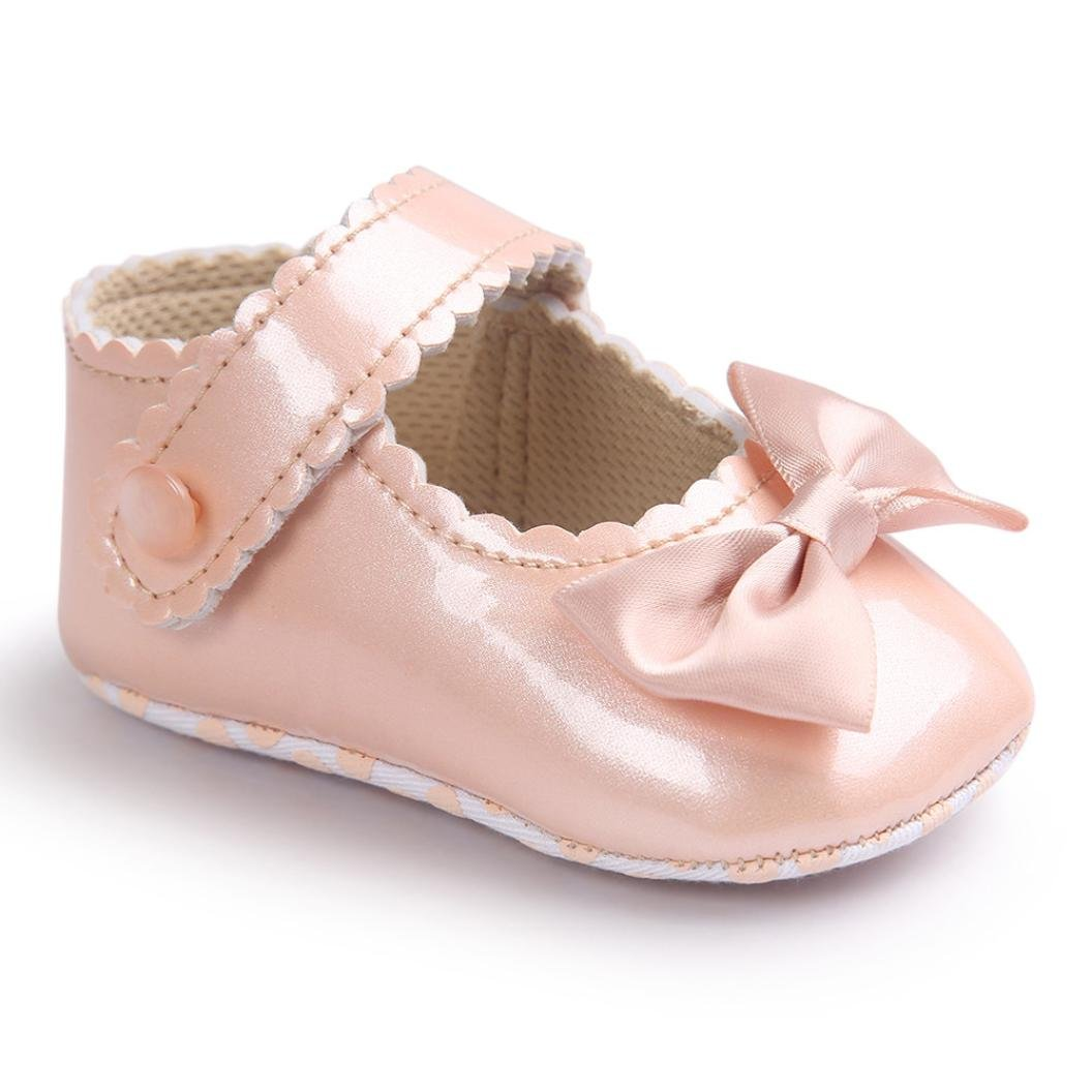 MONsin Baby Shoes Girl First Walkers,New Baby Girl Cute Bowknot Anti-Slip Leather Soft Sole Leather Toddler Princess Shoes
